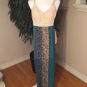 B DARLIN LINED MAXI DRESS WITH LACE UP BACK SZ 7/8